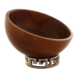Foreign Affairs Home Decor - Wood Bowl KONA, Copper Greek Key Design Stand - Beautifully turned Mango Wood Bowl with Greek Key Bronze foot. Great for nuts and niblles.