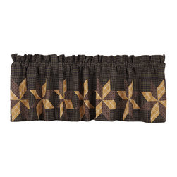 "VHC Brands - Amherst Patchwork Star Valance - This patchwork valance is 100% cotton and comes lined.  The valance measures 16"" H x 72""W. Included in the height measurement is a 2"" header and 3.25"" rod pocket. Features patchwork stars on the front in black, mustard gold, brown, tan and cream. Machine washable, please follow manufacture's instructions."