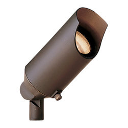 """Kichler 1-Light Landscape Fixture - Bronzed Brass - One light landscape fixture. This lighting outdoor mini spot light comes in a pack of 12, making it a great way to begin or complete an outdoor lighting scheme. The design is perfect for uplighting and the fixture is finished in a warm bronzed brass hue. Wiring is 35"""" of usable #18-2, spt-1-w leads. cable connector supplied with fixture. 12v porcelain universal bi-pin socket. 8"""" in-ground mounting stake (included). Bulk pack 24 in unbreakable master."""