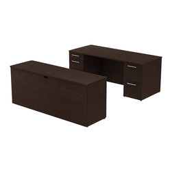 """Bush - Bush 300 Series 72"""" 2-Pedestal Desk with Credenza in Mocha Cherry - Bush - Commercial Grade Office - 300S022MR - Style and practicality are built into the BBF Mocha Cherry 300 Series 72""""""""W x 30""""""""D Executive Double Pedestal Desk and Credenza. Distinctive lines of the desk are stylish while the generous top surface offers extra workspace and drawer storage. The large 72""""""""W desktop sits upon two pedestals with five drawers both B/B/F and F/F but has an overall smaller footprint. Holds all necessary papers and documents accommodating letter- legal or A4-size files. Two box drawers keep office supplies handy. All drawers on full-extension ball bearing slides open completely allowing easy access to back. Wire grommets control unsightly cords and cables keeping desk and credenza surfaces clutter-free. Credenza complements the desk and offers additional storage at your fingertips. Rich Mocha Cherry finish makes an executive statement. Total configuration flexibility lets you outfit any-size office space. Tough rugged work surfaces resist scratching stains dings and dents looking good for years. Includes BBF Limited Lifetime warranty."""
