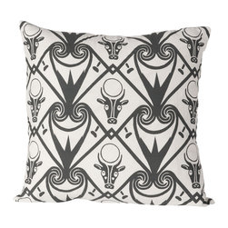 Cricket Radio - Alexandria Hathor Pillow, Oyster/Charcoal - No bull. This Italian linen pillow will add divine style to your sofa, chair or bench. It features graphic scrolls and depictions of Hathor, an Egyptian cow and sun deity that embodies joy, feminine love and motherhood. What else will bring you joy? Several color choices and a removable down insert.