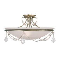 "Livex Lighting - Livex Lighting 6525 Chesterfield / Pennington 11"" Height 3 Light Semi-Flush Ceil - Specifications:"