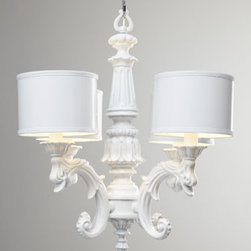 """BARBARA COSGROVE - BARBARA COSGROVE White Baroque Chandelier - A classic chandelier with just a bit of attitude. With a streamlined design and high-gloss, whiter-than-white finish, it's made of resin with petite parchment drum shades. By Barbara Cosgrove. Uses four 60-watt bulbs. 29.5""""Dia. x 27""""T with 5'10.5""""L..."""