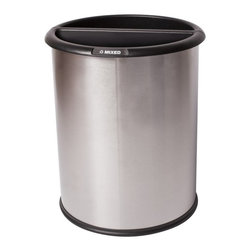 Commercial Zone - Commercial Zone InnRoom Recycler 3.2 Gallon Trash Can - 781029 - Shop for Trash Receptacles from Hayneedle.com! The Commercial Zone InnRoom Recycler 3.2 Gallon Trash Can has a classic design and is divided for easy recycling. It's made of recycled heavy-gauge stainless steel and has two removable liners. A set of decals lets you customize and a rubber ring protects floors. This trash can features a fingerprint-resistant finish that comes in your choice of available colors. It holds 3.2 gallons and is the perfect size for a guest room or under a desk. An extended lip makes it easy to lift liners to empty and clean. Decals set includes: trash aluminum paper glass plastic organic recycle and mixed. About Commercial ZoneSince 1968 DCI Marketing Commercial Zone has been offering a complete line of image-enhancing products designed for commercial use. Commercial Zone recycling centers trash cans and cigarette dispensers are all designed to be aesthetically pleasing. The company offers a large selection of styles materials and colors. Their products are durable easy to maintain and are made with recycled materials whenever possible. All Commercial Zone products are designed to meet the requirements of the Americans with Disability Act.