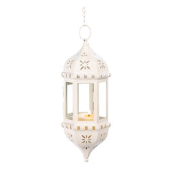 Anzy - Flower Tower Hanging Lantern - Like a graceful temple spire, this ivory hanging lamp invokes an aura of serenity. With intricate cutouts and crystal clear glass panels, it' the perfect showcase for a favorite candle' enchanting glow.