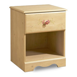 South Shore - Nightstand w Pine Finish & One Drawer - One drawer nightstand has a pine finish. Drawer has a floral applique and a flower shaped porcelain pull. Drawer glides have safety catches. Underneath is a cubby for displaying collectibles or books. Drawer edge and top edge are nicely profiled. * Manufactured from eco-friendly, EPP-compliant laminated particle boardcarrying the Forest Stewardship Council (FSC) certificationRomantic Pine finishDecorative kickplateConvenient bedside storage with 1 drawer and 1 open caseProfiled edges on drawers and topsDecorative floral appliques on drawersPorcelain flower-shaped knobsInnovative drawer Smart Glides with liftetime warrantyChild-friendly safety catches on drawer glides. Assembly required. 25 in. H x 20 in. W x 17 in. D