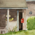 """""""Door & Mailbox"""" Artwork - Open front door with red mailbox and part of the front porch. Note: This painting was photographed before it was signed by the artist (now lower right.)"""