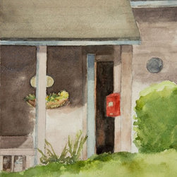 Door & Mailbox Artwork - Open front door with red mailbox and part of the front porch. Note: This painting was photographed before it was signed by the artist (now lower right.)