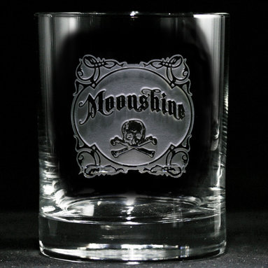 """Crystal Imagery, Inc. - Moonshine Whiskey, Scotch, Bourbon 4 Bar Glasses - Serve your libations with some old-time rebel charm in these artfully engraved bar glasses proudly bearing vintage-style """"moonshine"""" labels. """"Cause good whiskey is good, but (to misquote Mae West), when it's bad, it's better."""""""