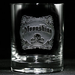 "Crystal Imagery, Inc. - Moonshine Whiskey, Scotch, Bourbon 4 Bar Glasses - Serve your libations with some old-time rebel charm in these artfully engraved bar glasses proudly bearing vintage-style ""moonshine"" labels. ""Cause good whiskey is good, but (to misquote Mae West), when it's bad, it's better."""