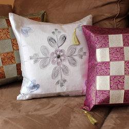 Banarsi Designs - Fun Decorative Pillow Combinations - A combination of 3 throw pillows using unique pillow covers from Banarsi Designs.