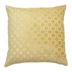 Citrine yellow geometric cut velvet decorative pillow cover - One decorative pillow cover made to fit a size 18x18 insert. Beautiful citrine yellow geometric cut velvet fabric aligned on both front and back. Finished with a concealed bottom zipper. Insert not included.