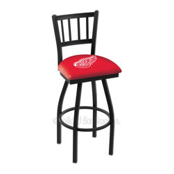 Holland Bar Stool - Holland Bar Stool L018 - Black Wrinkle Detroit Red Wings Swivel Bar Stool - L018 - Black Wrinkle Detroit Red Wings Swivel Bar Stool w/ Jailhouse Style Back belongs to NHL Collection by Holland Bar Stool Made for the ultimate sports fan, impress your buddies with this knockout from Holland Bar Stool. This contemporary L018 Detroit Red Wings stool carries a defined Jailhouse back that doesn't just add comfort, but sophistication. Holland Bar Stool uses a detailed screen print process that applies specially formulated epoxy-vinyl ink in numerous stages to produce a sharp, crisp, clear image of your desired logo. You can't find a higher quality logo stool on the market. The plating grade steel used to build the frame is commercial quality, so it will withstand the abuse of the rowdiest of friends for years to come. The structure is powder-coated black wrinkle to ensure a rich, sleek, long lasting finish. Construction of this framework is built tough, utilizing solid welds. If you're going to finish your bar or game room, do it right- with a Holland Bar Stool. Barstool (1)