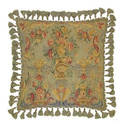 "EuroLux Home - New Aubusson Hand-Woven Throw Pillow 22""x22"" - Product Details"