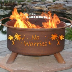 """Patina No Worries 31 Inch Fire Pit - Things got you down lately? Don't let them keep you from enjoying those summer weekends or any time between the hours of 5 p.m. and the morning. This Patina """"No Worries"""" 31-Inch Fire Pit has got the right idea. Crafted from cold rolled steel with expertly cut palm trees twinkling night sky and """"No Worries"""" slogan it has the resilience and the right attitude to make it through those occasional troubles. With the included grilling implements and spark cover you'll have no trouble following its sage advice. Simply lift it with the handy ring place it strategically in view of the setting sun light a fire prop your feet up and watch your worries go up in smoke.The natural rust finish is simultaneously elegant and rustic and will not deteriorate over time. Other fire pits fine examples of fire pits though they may be will inevitably suffer the scrapes and blemishes that fire pits must endure. This item however will age beautifully.About Patina ProductsWith headquarters on the central coast of California where warm days and cool nights make outdoor patio living second nature Patina Products takes pride in its art and offers the finest in outdoor living accessories with a gorgeous natural patina finish.Since 2001 Patina Products has been warming up gardens outdoor rooms and patios with its impressive line of unique fire pits and other products. They use specially designed CNC (computer numeric control) plasma cutters to cut virtually any logo or brand into the side of a custom fire pit. The company designs its fresh original line of garden art in its studio overlooking the Pacific Ocean. The business began as an evolution. After 15 years in the pharmaceutical industry the owners of Patina Products knew two things: how to run a successful business and that they wanted a more creative outlet to express their love of outdoors and home decor.With beautiful decor items from Patina Products your patio will become your favorite room of your hou"""