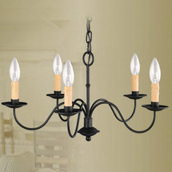 Livex Lighting - Livex Heritage 4468-04 Chandelier - Black - 25W in. - 4468-04 - Shop for Bathroom Mirrors from Hayneedle.com! The perfect showcase for timeless charm understated elegance and upscale appeal the Livex Heritage 4468-04 Chandelier - Black - 25W in. will add oodles of charm and ambient lighting to your entryway living space or dining space. The black-finished curved handlebars are topped with eight candle cups each holding a 60-watt candelabra base bulb (not included). Sure to shine bright in both formal and casual settings this handsome 25-inch chandelier comes with 36 inches of chain and 96 inches of wire to make installation a breeze.About Livex LightingLivex Lighting is a manufacturer and distributor of decorative residential lighting. The company was founded in 1993 and is now headquartered in a 150 000-square-foot facility in Morristown New Jersey. Livex Lighting currently offers over 2 500 products ranging from lighting fixtures for indoor and outdoor applications to lampshades chandelier shades ceiling medallions and accent furniture. The goal of Livex Lighting is to provide the highest-quality product at the most affordable price. We are constantly responding to the ever-changing needs styles and fashions of the lighting industry while always maintaining the highest standards of quality.