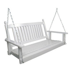 Lakewood 4-ft. Painted Porch Swing - What We Like About This Porch Swing: The Lakewood Swing brings together everything we love about porch swings. It is constructed of durable kiln-dried solid hardwood and is ideal for use on a covered porch or patio. A classic slatted backrest and comfortable seat beckon to be enjoyed. Hanging hardware is included with this swing. The Lakewood Painted Porch Swing features a traditional slatted back anchored between two rounded posts. You and your family will enjoy this charming porch swing season after season. It is constructed of durable kiln-dried ash hardwood and finished with a protective coating of high-quality paint. Ash is a hard tough wood used to make furniture with high strength and resilience. This wood is well-suited for use in outdoor furniture. 4 Foot Swing: Dimensions: 48L x 19D x 25H inches Seat Dimensions: 43L x 18D inches Weight Capacity: 350 lbs. The single piece of chain is 64 inches in length with two shorter pieces measuring 32 inches for an overall length of 96 inches. However the two shorter lengths are spread to the front and back hooks on the swing so there is only about 84 inches of usable length in the chain. These are designed for an 8-foot ceiling with some chain left over on the top. And for even more enhanced comfort while you swing add the spring and hanger set offered below. About the Hinkle Chair CompanyFor over 170 years the Hinkle family has been making quality hardwood furniture in the same location in Springfield Tennessee. Between the 1950s and 1990s they focused almost solely on the production of rocking chairs due to high demand for their quality rockers. But in 1996 the company expanded with two new buildings- one to house production facilities the other to house a state of the art finishing system. These innovations have allowed the Hinkle Chair Company to meet the demands of the rocking chair market and to offer new and exciting furniture pieces among their storied collection.