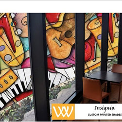 """Insignia"" Custom Printed Shades - Add logos or art to your windows!"