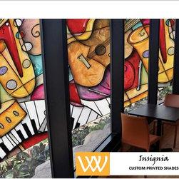 """Insignia"" Custom Printed Shades - Add logos or art to your windows!"