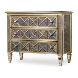 Hooker - Hooker Furniture Sanctuary  Drawer Diamond Front Chest - The 3 Drawer Diamond Front Chest is the perfect display of your good taste. Its beauty draws upon the rest of your decor, reflecting your style and guaranteeing a perfect match.  The frame is constructed of extra-strong engineered hardwoods with antique mirrors so you know your furniture will last a lifetime.  The interior is finished as well which will protect whatever you may store in it and is also a sign of the best quality craftsmanship.