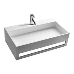 ADM - ADM Matte White Wall Hung Stone Resin Sink - Dw-189