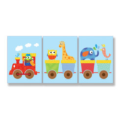 Stupell Industries - Animals on Whimsical Train 3 Rect Wall Plaques - Treat your home to some style with one this decorative wooden wall plaques.    It is produced on sturdy half-inch thick MDF wood, and comes with a saw tooth hanger on the back for instant use.  The sides are hand finished and painted so a perfect crisp look.  MADE IN USA.