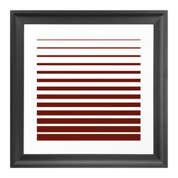 Seeing Red Art Print - Bold red draws a definitive line of style with the Seeing Red Art Print. Playing with optical illusions, the red and white horizontal stripes of this striking wall art are sure to create a conversation with admiring guests. A gallery-quality print on archival paper, this giclee print is ready to frame with a one-inch custom trimmed border.