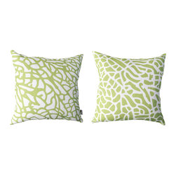 Kaypee Soh - Fan Coral Pillow - Lime Green - Ocean inspired, this interpretation of fan coral found in coral reefs around the world is simplistic in its pattern, but makes a bold statement.