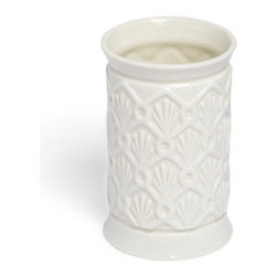 Grandin Road - Deco Fan Porcelain Tumbler - Round porcelain drinking tumbler decorated with a textured Art Deco-inspired motif. Crafted from fine porcelain with a glossy glaze. Textured side surfaces; lip is smooth. Hand wash with mild soap and water. Accent your beautiful bath or powder room with the elegance of the round porcelain Deco Fan tumbler beside your bathroom sink. The tumbler is a practical accessory, great for a quick drink of water or for taking medication, and this beautiful version is crafted from fine porcelain featuring an Art Deco-inspired shell motif, finished with a glossy glaze. Curate and complete your own collection - see all of the versatile Deco Fan bath accessories.. . . . Imported.
