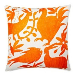 5 Surry Lane - Mexican Embroidered Otomi Orange Pillow - Warm up your sofa or bedding with a colorful throw pillow. The rich and storied pattern originates with the Otomi Indians of Mexico, and is still hand-embroidered by them today. Pick from two sizes and six vibrant colors to complement your well-traveled aesthetic.