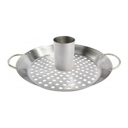 Bull BBQ - Bull Outdoor Stainless Convertible Wok / Vertical Poultry Rack - This stainless steel product has two uses in one and includes a removable basting cup.