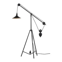 ZUO PURE - Jasper Floor Lamp Antique Black Gold - Operating on an ingenious synchronized pulley system, but in a floor lamp form, the Jasper floor lamp will be a hit anywhere. The lamp comes with one 60w bulb and is UL approved.
