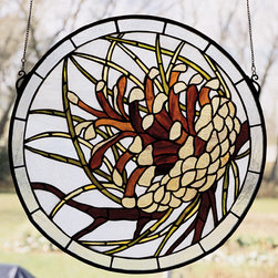 Meyda - 17 Inch W X 17 Inch H Pinecone Medallion Window Windows - Color Theme: Blue Xag Amber Za