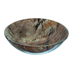 YOSEMITE HOME DECOR - Double Dutch Round Basin - Creamy marbled earth tones with glossy finish