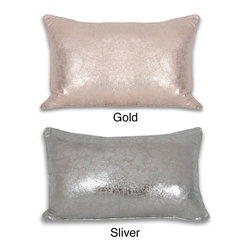 Thro - Crackle Metallic 12 x 20-inch Throw Pillow - Give your decor a glitzy makeover with this metallic throw pillow. With its feather fill, this rectangular crackle pillow provides soft comfort. A hidden zipper closure and removable cover make it easy to keep this accent pillow looking beautiful.