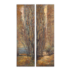 Uttermost - Tree Panels Set of 2 - Frameless hand painted oils on hardboard feature an array of natural earth tone colors. Due to the handcrafted nature of this artwork, each piece may have subtle differences.