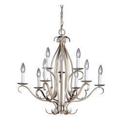 Kichler 9-Light Chandelier - Brushed Nickel - Nine Light Chandelier. The Portsmouth collection takes classic design and offers a unique and modern twist designed to fit contemporary homes. Characterized by its long, sweeping arms, Portsmouth fixtures offer a clean look while remaining fresh and exciting. With our brushed nickel finish over its hand-wrought steel frame, you can be sure of a high quality fit and finish that is second to none. This 2-tiered, 9 light chandelier is the largest in the Portsmouth collection. It uses 60-watt bulbs and at 25 high and 26 diameter, this fixture is perfect for a large room or foyer.