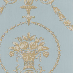 Damask in Seafoam and Taupe - CS27333 - Collection:Classic Silks