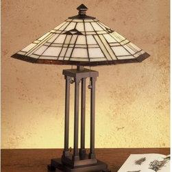 Meyda Tiffany - Meyda Tiffany 50281 Stained Glass / Tiffany Table Lamp Arrowhead Missio - Arts & Crafts MissionTable Lamp2 Medium base bulbs, 60w (max)