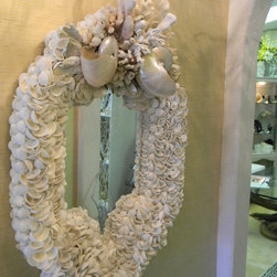Wedding Mirror - White pearlized nautilus shells with brownstem and catpaw coral as well as other white and pearlized shells. Size 42'' x 28''