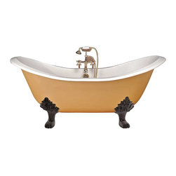 Renovators Supply - Claw-Foot Tub, White Iron, Double Slipper Black Feet - Double Slipper Tubs, Clawfoot Tubs. Victorian claw foot tubs add an authentic period look to any vintage bathroom. Crafted from extra thick cast iron 5/16 in., these claw foot tubs retain heat. Authentic white porcelain interior glaze with a primed exterior ready to paint (oil-base paint only) to match your decor. These Victorian clawfoot tubs come with black lion clawfoot feet made of cast iron with an RSF protective finish. This claw foot tub accepts free-standing floor or wall-mount faucets, sold separately. The dual slipper claw foot tub is designed for two people with both ends raised and sloped creating a more comfortable resting position for both of you. Clawfoot tub price includes crating, lift gate service, and shipping within the contiguous 48 states of the U.S.
