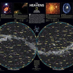 "Brewster Home Fashions - Heavens Nat Geo Poster Decal - The Heavens Wall Poster by National Geographic brings a beautiful night sky to life on walls. Featuring constellations and stars from both the Northern and Southern Hemispheres this brilliant star chart sparks imagination and discovery. Both educational and fun this peel and stick decal brings the wonder of stargazing indoors for you to enjoy time and again. Comes on a 24"" x 36"" sheet and is repositionable and removable."