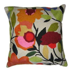 """Begonias designer pillow - Kim Parker Home Begonias designer pillow. Size: 18"""" x 18""""."""