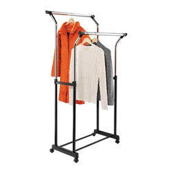 "Flared Double Garment Rack: Black/Chrome - Honey-Can-Do GAR-01119 Adjustable height, double flared garment rack. This sturdy garment rack is made from a chrome-finished, steel frame and goes from room to room on smooth rolling swivel casters, which lock in place. The hanging bars adjust from 39"" to 67"" high to accommodate short or long garments and are perfect for managing out-of-season clothing or garments hung to dry in the laundry room. The extra-wide flared design, doubles your storage space and keeps items from overlapping."