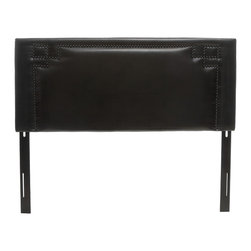 Great Deal Furniture - Levant Queen Black Leather Headboard - The Levant headboard is a great piece to add elegance to your bedroom. You can spruce up the look of any queen metal frame bed with this headboard.