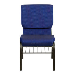 """Flash Furniture - Hercules 18.5"""" Wide Navy Blue Dot Patterned Church Chair - Gold Vein Frame - This Hercules Series Church Chair will add elegance and class to any Church, Hotel, Banquet Room or Conference setting. If you are looking for a chair with comfort and style that is easy to move and stores away with ease, then look no further. This built to last chair has a 16-gauge steel frame that has been tested to hold 600 lbs. This church chair features double support bracing, ganging clamps, a cushion that graduates to a 4.25 in.  thick waterfall edge and plastic floor glides to protect non-carpeted floors. Our church chair is manufactured by one of the most reputable stack chair manufacturers in the industry, you can be assured of the quality of this chair offered to you."""
