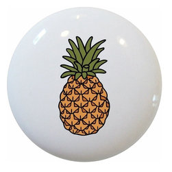 Carolina Hardware and Decor, LLC - Pineapple Fruit Ceramic Knob - New 1 1/2 inch ceramic cabinet, drawer, or furniture knob with mounting hardware included. Also works great on bi-fold closet doors (may require longer screws). Item can be wiped clean with a soft damp cloth. Great addition and nice finishing touch to any room!
