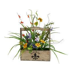 D&W Silks - D&W Silks Pansies And Grass In Wooden Fleur De Lis Planter - Pansies and grass in wooden fleur de lis planter