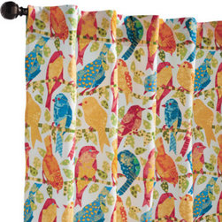 """Grandin Road - Birds Outdoor Panel - Birds Blue, 108""""L - Durable and weather-resistant curtain panels, designed to live outside. Rod-pocket top. Made from 100% solution-dyed polyester. Stands up to UV rays. Each is 50""""W. Add a billowing outdoor curtain panel or two for privacy in the pergola or on the porch. Each is sewn from all-weather fabric with a hidden rod-pocket top. Select from a variety of vibrant colors and patterns that are made to coordinate with our outdoor cushions, pillows and more.  .  .  .  .  . Made in the USA."""