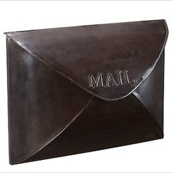 "Envelope Mailbox, Antique Bronze finish - Styled like an envelope, our metal mailbox's lid opens to insert and remove mail. 16"" wide x 5"" deep x 11.5"" high Made of iron with a bronze, antique bronze, antique silver, or vintage brass finish. Catalog / Internet only."